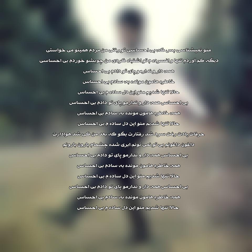 آهنگ جدید علی عبدالمالکی به نام بی احساس