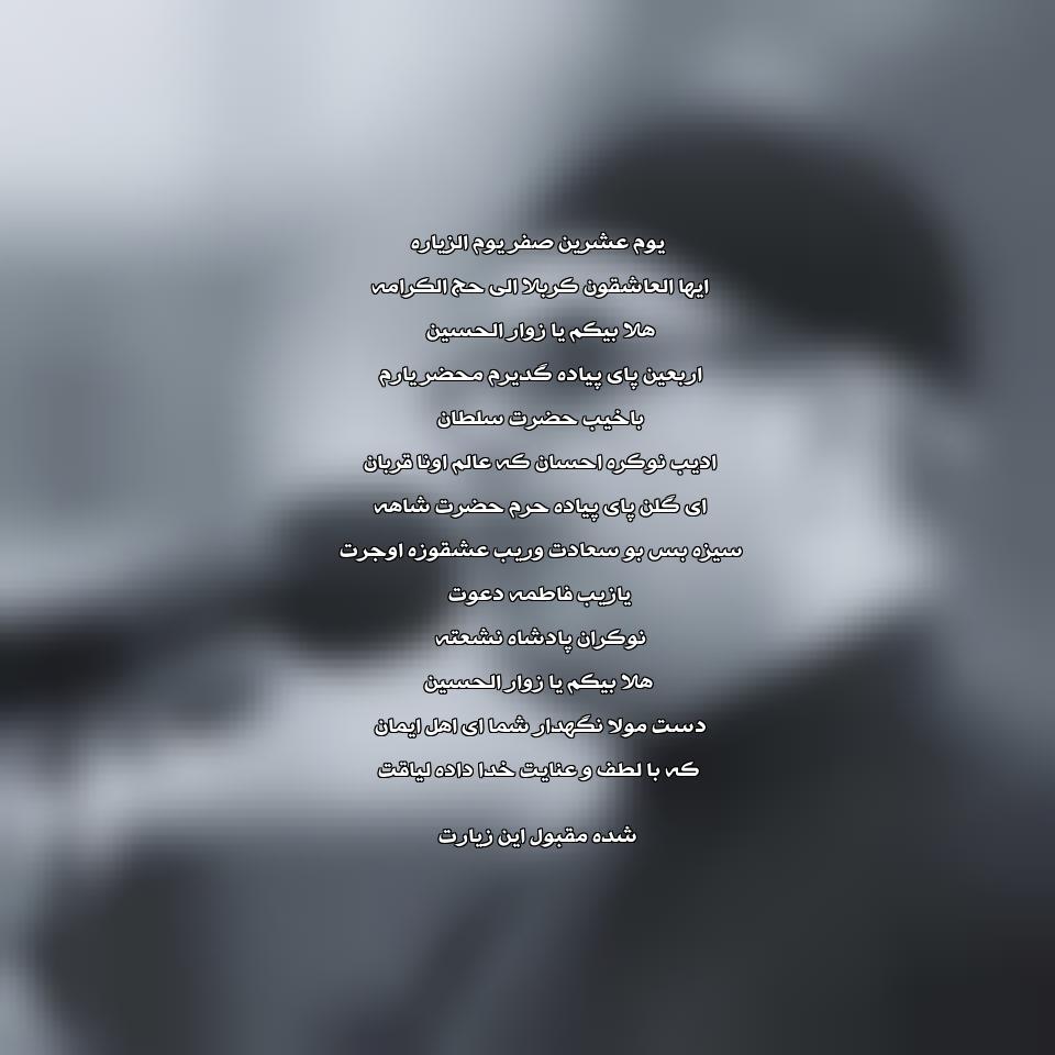 متن نوحه هلابیکم یا زوار الحسین